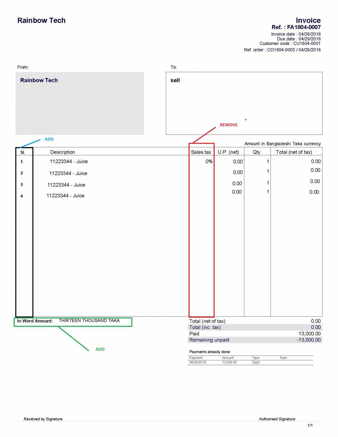 invoice total amount in word - using my dolibarr