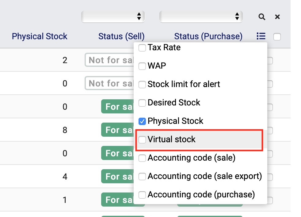Virtual Stock is an option