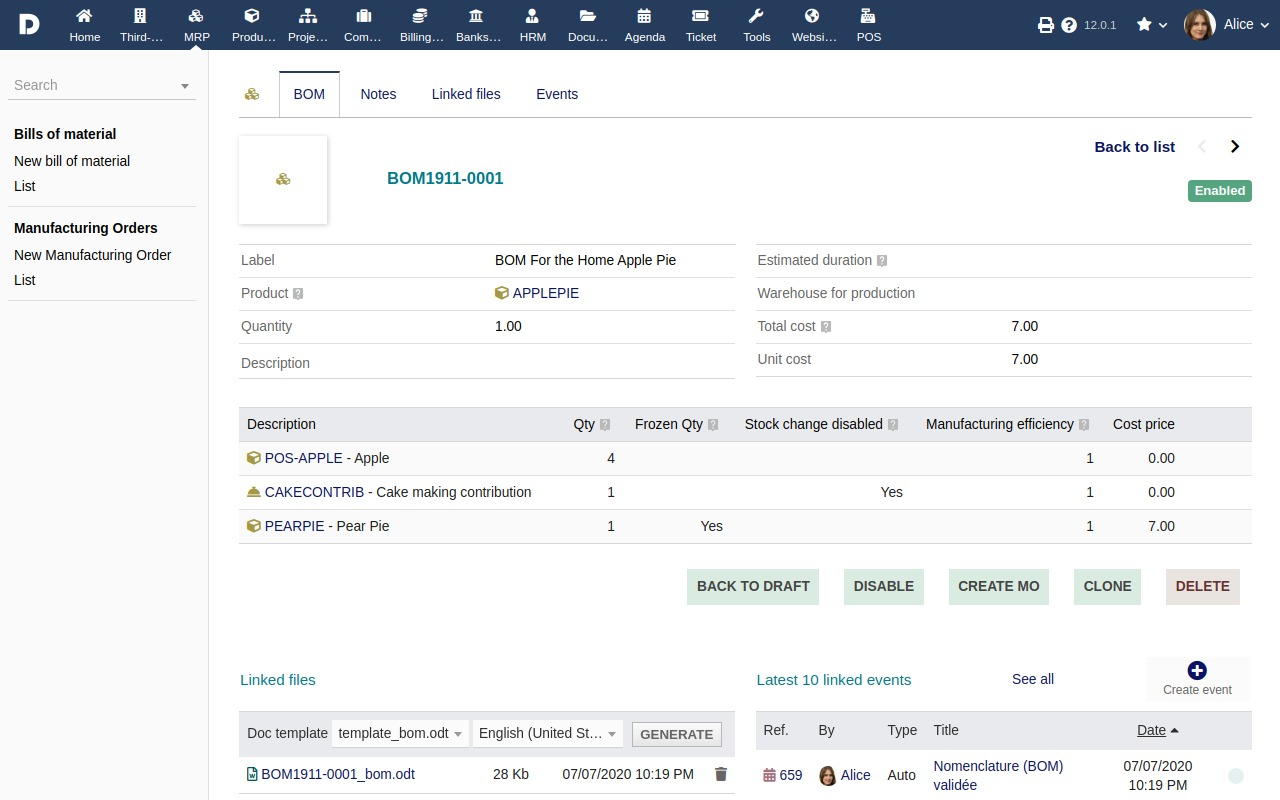 Screenshot of a Bill Of Materials (BOM) in Dolibarr