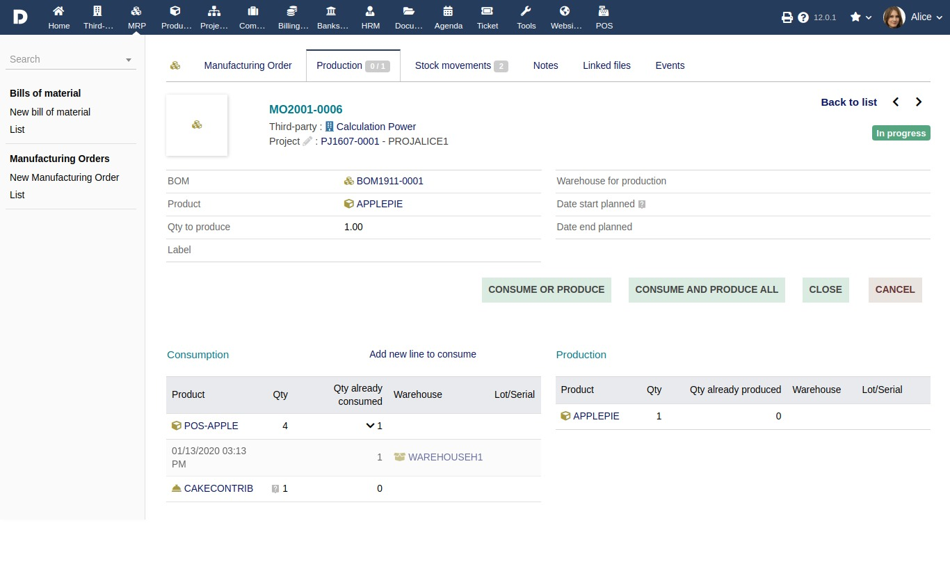 Screenshot of a Manufacturing Order (MO) in Dolibarr